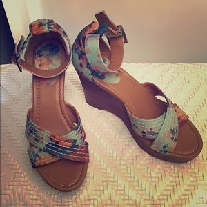 Style&Co floral, brown wedges